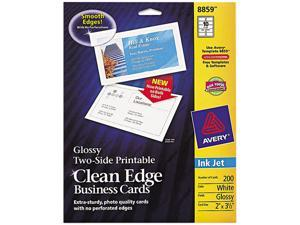 Avery 8859 Two-Sided Printable Clean Edge Business Cards, 2 x 3 1/2, Glossy White