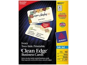 Avery 88221 Clean Edge Inkjet Business Cards, Ivory, Round Edge, 2 x 3 1/2, 160 cards/PK