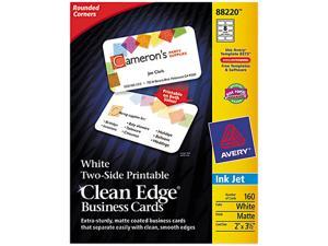 Avery 88220 Clean Edge Inkjet Business Cards, White, Round Edge, 2 x 3 1/2, 160 cards/PK