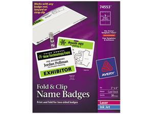 Avery 74553 Fold & Clip Badges, 3 x 4, White, 30/Box