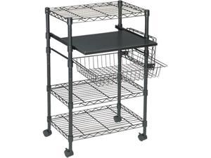Mayline 955BLK Multipurpose Wire Cart, 5-Shelf, 1-basket, 23½w x 15d x 37½h, Black
