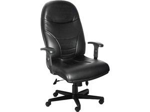 Mayline 9413AGBLT Comfort Series Executive High-Back Chair, Black Leather