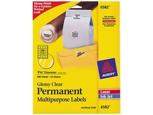"Avery 6582 Permanent I.D. Labels, 1 2/3"" dia., Clear, 500/Pack"
