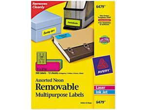 Avery 6479 Removable Self-Adhesive Color-Coding Labels, 1 x 2-5/8, Assorted Neon, 360/Pack