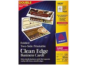 Avery 5820 Clean Edge Laser Business Cards, 2 x 3 1/2, White, 120/Pack