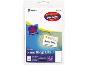Avery 5152 Flexible Self-Adhesive Laser/Inkjet Name Badge Labels, 2-1/3 x 3-3/8, WE, 40/Pk