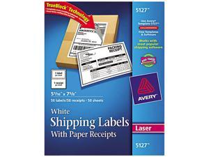 Avery 5127 Shipping Labels with Paper Receipt, 5-1/16 x 7-5/8, White, 50/Pack
