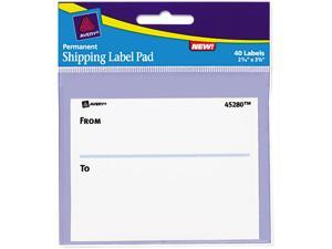 Avery 45280 Permanent Label Pads, 3 x 4, White, 40/Pack