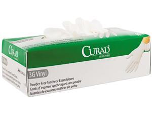 Curad CUR8237 3G Synthetic Vinyl Powder-Free Exam Gloves, X-Large, 90/Box