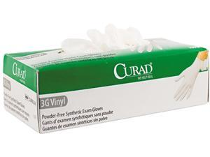 Curad CUR8236 3G Synthetic Vinyl Powder-Free Exam Gloves, Large, 100/Box