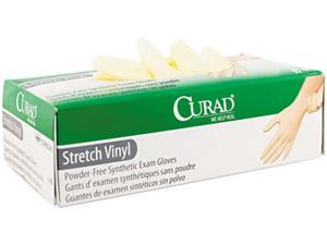 Curad CUR8227 Synthetic Vinyl Powder-Free Exam Gloves, X-Large, 90/Box