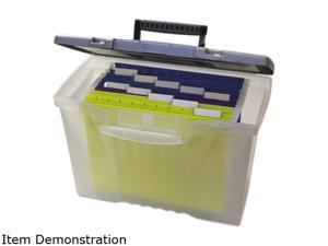 Storex 61511U01C Portable File Storage Box w/Organizer Lid, Letter/Legal, Clear