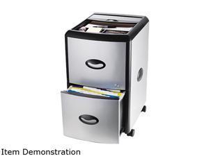 Storex 61352U01C Mobile Filing Cabinet With Metal Siding, 19w x 15d x 23h, Black/Silver