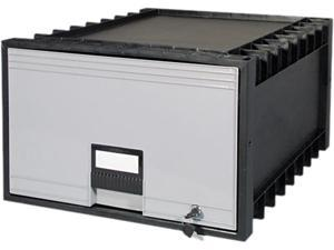 "Storex 61155U01C Archive Drawer for Legal Files Storage Box, 24"" Depth, Black/Gray"