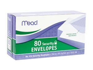 Mead                                     Security Envelope, 3 5/8 × 6 1/2, 20 lb, White, 80/Box