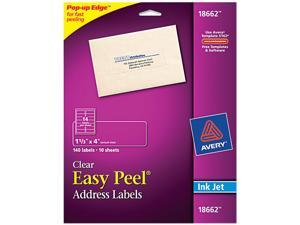 Avery 18662 Easy Peel Mailing Labels for Inkjet Printers, 1-1/3 x 4, Clear, 140/Pack