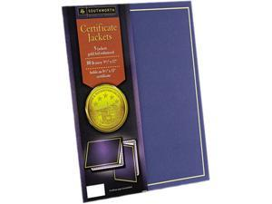 Southworth PF6 Certificate Jackets, 12 x 9-1/2, Navy/w Gold Border, 5/Pack
