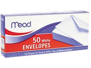 Mead                                     Business Envelope, 4 1/8 x 9 1/2, 20 lb, White, 50/Box