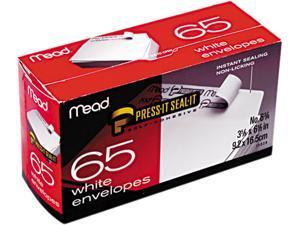 Mead 75028 Press-it Seal-it Business Envelope, 3 5/8 × 6 1/2, 20 lb, White, 65/Box