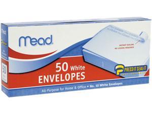 Mead 75024 Press-it Seal-it Business Envelope, 4 1/8 x 9 1/2, 20 lb, White, 50/Box
