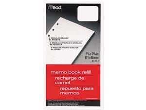 Mead 46534 6-Ring Memo Book Refill, College Rule, 6HP, 6-3/4 x 3-3/4, 80 Sheets, White