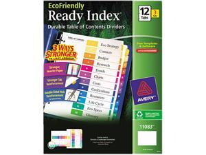 Avery 11083 EcoFriendly Ready Index Table of Contents Divider, Multicolor 1-12, Letter, 3/PK