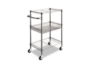 Alera SW342416BA (ALESW342416BA) Three-Tier Wire Rolling Cart, 24w x 16d x 39h, Black Anthracite