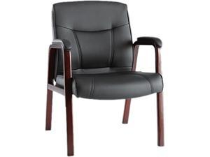 Alera Madaris Series MA43ALS10M (ALEMA43ALS10M)Leather Guest Chair w/Wood Trim, Four Legs, Black/Mahogany