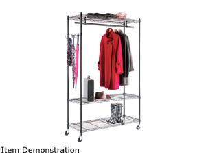 AleraWire Shelving Garment Rack, Coat Rack, Stand Alone Rack, Black Steel w/Casters