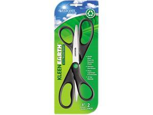 "Westcott 15179 Kleenearth Scissors, 8"" Length, 3-1/4"" Cut, 2/Pack"