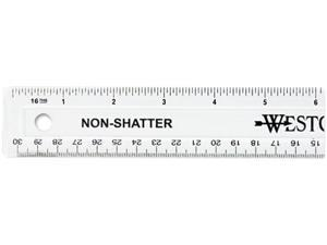 "Westcott 13862 Non-Shatter Ruler, 12"" Length, Clear"