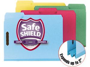 Smead 14937 Colored Pressboard Fastener Folders, Letter, 1/3 Cut, Blue, 25/Box