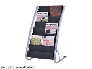 Alba Literature Floor 8-Pocket Display Rack, 22-7/8w x 19-3/4d x 36-5/8h, BLK/Chrome