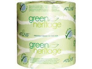 Atlas Paper Mills 250GREEN Green Heritage Bathroom Tissue, 2-Ply, 500 Sheets, White, 96 per Carton