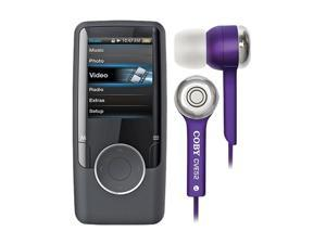 "Coby 1.8"" 4G Video Mp3 Player Black W/ COBY Jammerz Stereo Earphone Purple"