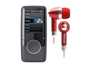 "Coby 1.8"" 8G Video Mp3 Player Black Atitudz EarBud Red"