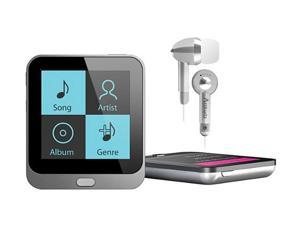 """Coby KIT NZ2366 KV8251 1.44"""" 4GB Touch Screen Video MP3 Player with FM Radio and Silver Attitudz Isolation Stereo Earphones ..."""