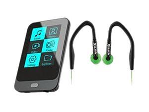 "Coby KIT NZ2368 KV8259 1.8"" 8GB Touch Screen Video MP3 Player with FM Radio and Green Jammerz SportsX Over-Ear Isolation ..."