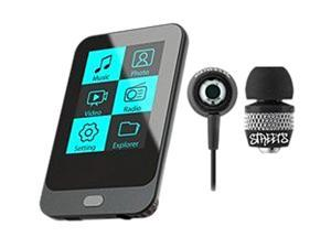 "Coby KIT NZ2370 KV8267 2"" 8GB Touch Screen Video MP3 Player with FM Radio and Black Jammerz Streets Urban Style Isolation ..."