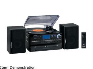 Jensen JTA-980 3-Speed Stereo Turntable 2 CD System with Cassette and AM/FM Stereo Radio