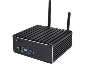 JetWay HBJC313U591W-3150-B Fanless NUC Barebones. 2 HDMI + 1 DP 4K support, Dual Intel GbLAN, WiFi + Bluetooth, Aluminum alloy chassis.
