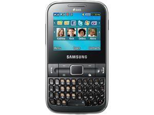 Samsung Ch@t Black Unlocked GSM QWERTY Cell Phone w/ 1.3MP Camera / Dual Sim Card (C3222)