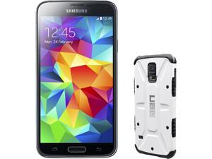 Samsung Galaxy S5 Charcoal Black 3G Quad-Core 2.5GHz Unlocked GSM Phone + UAG White Case for Samsung Galaxy S5