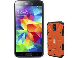 Samsung Galaxy S5 Charcoal Black 3G Quad-Core 2.5GHz Unlocked GSM Phone + UAG Rust Case for Samsung Galaxy S5