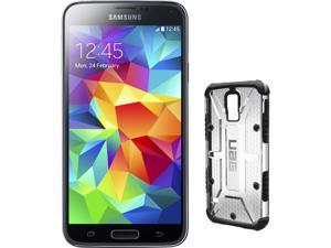 Samsung Galaxy S5 Charcoal Black 3G Quad-Core 2.5GHz Unlocked GSM Phone + UAG Ice Case for Samsung Galaxy S5