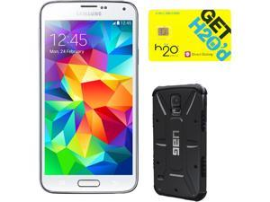 Samsung Galaxy S5 Shimmering White 3G Quad-Core 2.5GHz Unlocked GSM Phone + UAG Black Case + H2O SIM Card