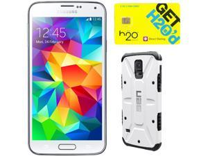 Samsung Galaxy S5 Shimmering White 3G Quad-Core 2.5GHz Unlocked GSM Phone + UAG White Case + H2O SIM Card