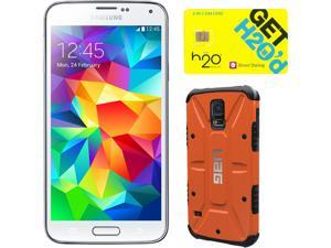 Samsung Galaxy S5 Shimmering White 3G Quad-Core 2.5GHz Unlocked GSM Phone + UAG Rust Case + H2O SIM Card