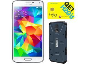 Samsung Galaxy S5 Shimmering White 3G Quad-Core 2.5GHz Unlocked GSM Phone + UAG Slate Case + H2O SIM Card