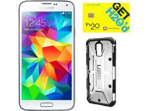 Samsung Galaxy S5 Shimmering White 3G Quad-Core 2.5GHz Unlocked GSM Phone + UAG Ice Case + H2O SIM Card